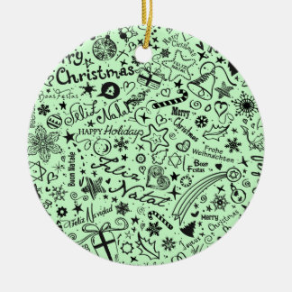 Merry Christmas Multiple Languages Ceramic Ornament