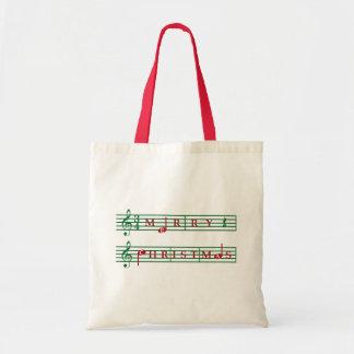Merry Christmas Music Tote Budget Tote Bag