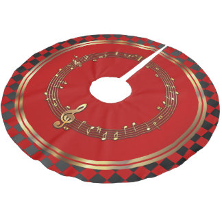 Merry Christmas Musical in Black, Red and Gold Brushed Polyester Tree Skirt