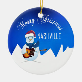 Merry Christmas Nashville Snowman Ornament