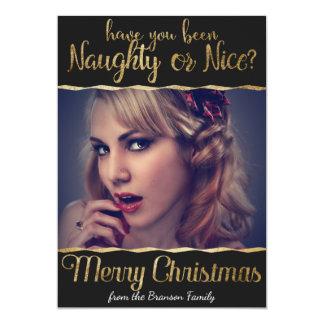 Merry Christmas Naughty or Nice Gold Photo 13 Cm X 18 Cm Invitation Card