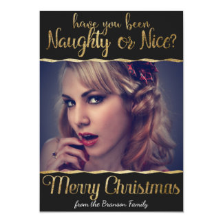 Merry Christmas Naughty or Nice Gold Photo Card