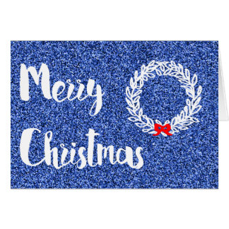 Merry Christmas (Navy Blue Faux Glitter) Card