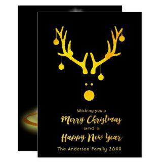 Merry Christmas New Year card reindeer black