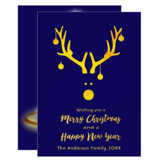 Merry Christmas New Year card reindeer blue