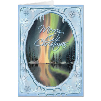 MERRY CHRISTMAS NORTHERN LIGHTS by SHARON SHARPE Card