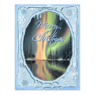 MERRY CHRISTMAS NORTHERN LIGHTS by SHARON SHARPE Postcard