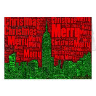 Merry Christmas: NYC Skyline Word Art Card  002