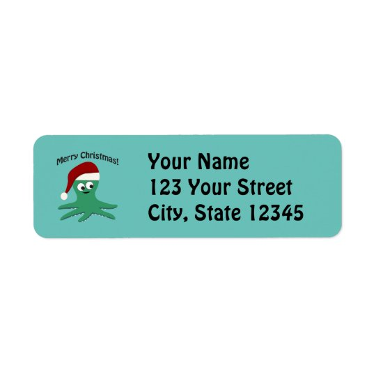 Merry Christmas Octopus Return Address Label