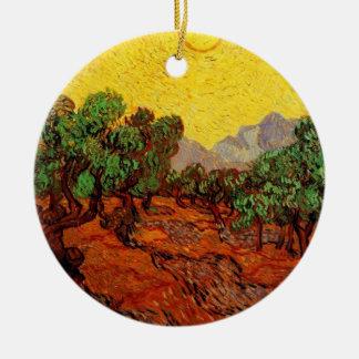 Merry  Christmas  oilve Trees with yellow Sky, sun Christmas Ornament
