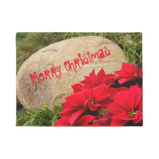 """""""Merry Christmas"""" on Stone & Red Poinsettia Doormat"""