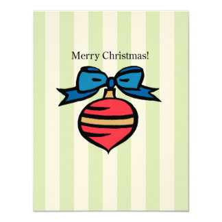 Merry Christmas Ornament 4.25 x 5.5 Felt Ecru GR 11 Cm X 14 Cm Invitation Card