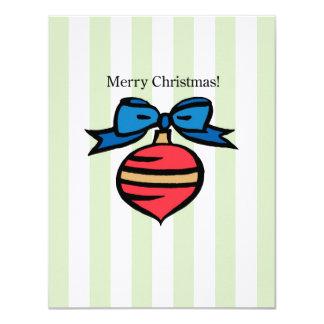 Merry Christmas Ornament 4.25 x 5.5 Linen Green 11 Cm X 14 Cm Invitation Card