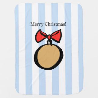 Merry Christmas Ornament Baby Blanket Blue