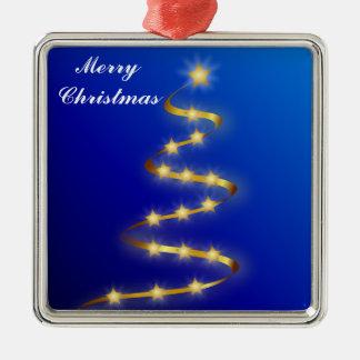 Merry Christmas Ornament Silver-Colored Square Ornament