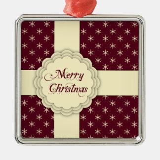 Merry Christmas Ornament Elegant Burgundy Ivory