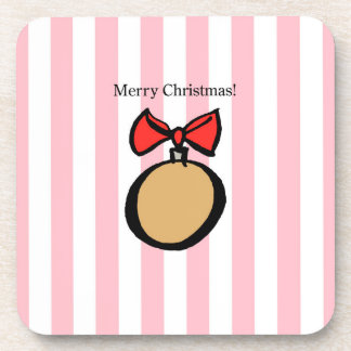 Merry Christmas Ornament Hard Plastic Coaster Pink