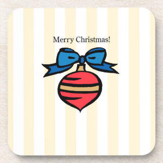 Merry Christmas Ornament Hard Square Coaster Yel