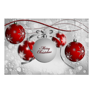 Merry Christmas Ornament in Silver and Red Poster