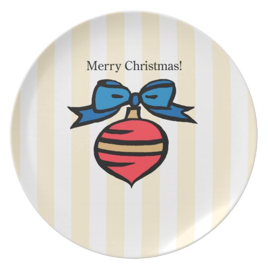 Merry Christmas Ornament Melamine Plate Yellow