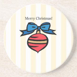 Merry Christmas Ornament Sandstone Drink Coaster