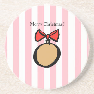 Merry Christmas Ornament Sandstone DrinkCoaster PK Coaster