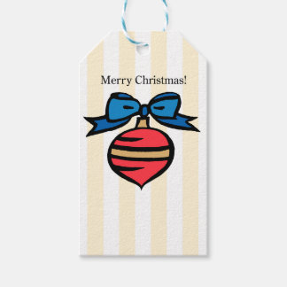 Merry Christmas Ornament Square Gift Tag Yellow