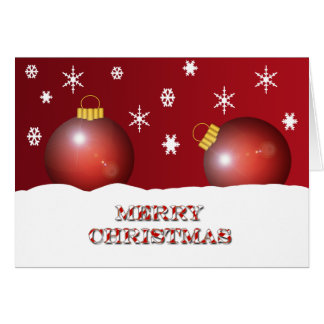 Merry Christmas Ornaments And Snow Flakes Card