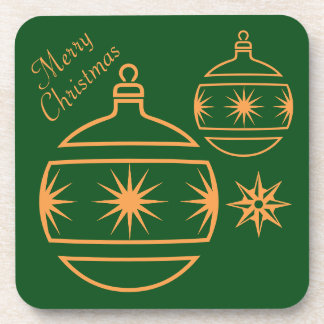 Merry Christmas Ornaments on Green Drink Coasters