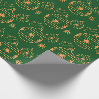 Merry Christmas Ornaments on Green Wrapping Paper