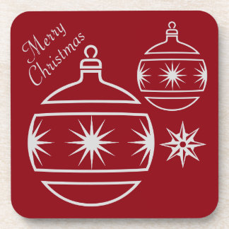 Merry Christmas Ornaments on Red Drink Coaster
