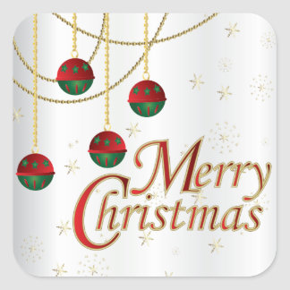 Merry Christmas Ornaments on White Square Sticker