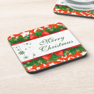 Merry Christmas Ornaments Red Green Pine Garland Coaster