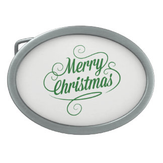 Merry Christmas Oval Belt Buckles