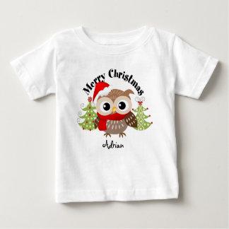 Merry Christmas Owl Baby T Shirts