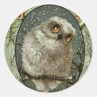 Merry Christmas Owl Classic Round Sticker