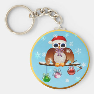 Merry Christmas Owl Key Ring