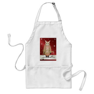 Merry Christmas Owl Red Standard Apron