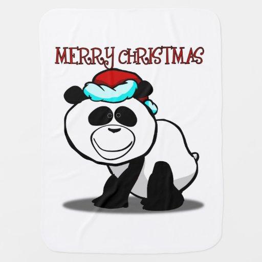 Merry Christmas Panda Baby Blanket