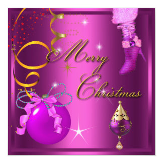 Merry Christmas Party Gold Pink Xmas Glitter 13 Cm X 13 Cm Square Invitation Card