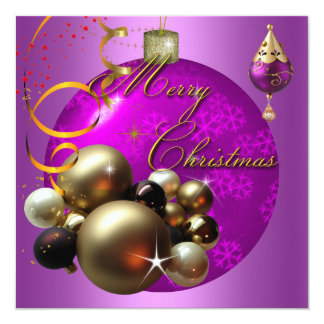"""Merry Christmas Party Gold Pink Xmas Glitter 5.25"""" Square Invitation Card"""