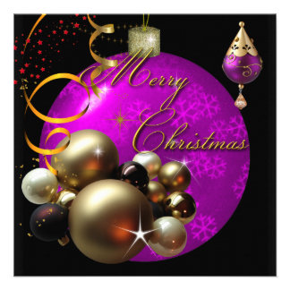 Merry Christmas Party Gold Pink Xmas Glitter Custom Invitations