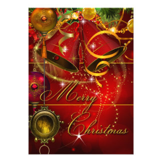 Merry Christmas Party Gold Red Xmas Glitter Custom Invitations