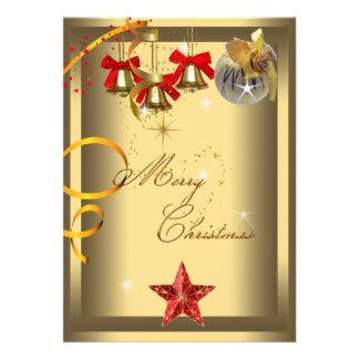 Merry Christmas Party Gold Red Xmas Glitter Custom Invite