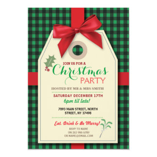 Merry Christmas Party Tag Bow Tag Xmas Invite