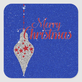Merry Christmas Patriotic Glitter Ornament Square Sticker