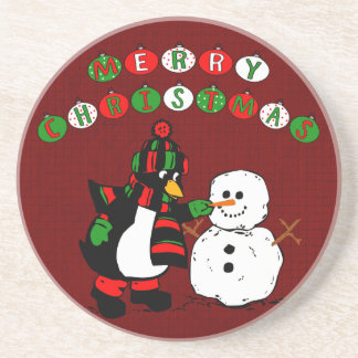 Merry Christmas Penguin and Snowman Beverage Coaster