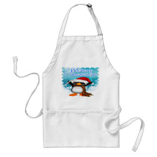 Merry Christmas Penguin Apron