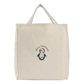 Merry Christmas Penguin Embroidered Tote Bag