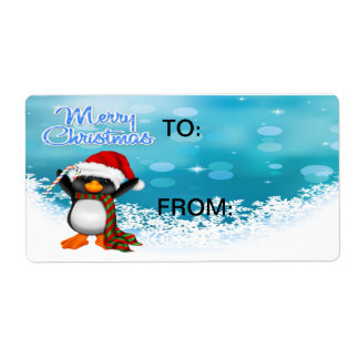 Merry Christmas Penguin Gift Tags Shipping Label